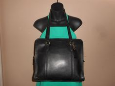 VINTAGE COACH 11 x 11 Black Leather Tote/Shoulder