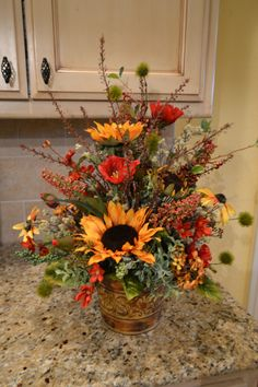 Sunflower And Poppy Arrangement by kristenscreations on Etsy 16x21