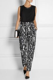 Proenza Schouler Flocked moiré-jacquard tapered pants