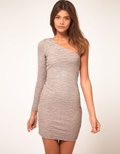 ASOS body-conscious dress with one sleeve in textured metallic $53