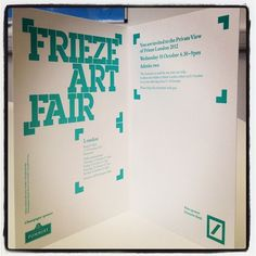 Invite to Frieze art fair makes us HAPPY. 11-14 October.