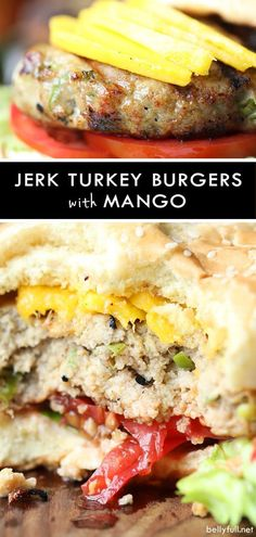 These Jerk Turkey Burgers are bursting with bold Jamaican jerk seasonings and topped with tropical mango. Juicy and amazing! These Jerk Turkey Burgers are bursting with bold Jamaican jerk seasonings and topped with tropical mango. Juicy and amazing! Best Turkey Burgers, Grilled Turkey Burgers, Turkey Burger Recipes, Beef Burgers, Veggie Burgers, Hamburger Recipes, Sandwich Recipes, Jamaican Jerk Marinade Recipe, Jamaican Jerk Seasoning