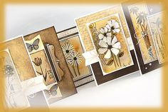Penny Black Sticker Cards Shades of Brown & Golden Yellow