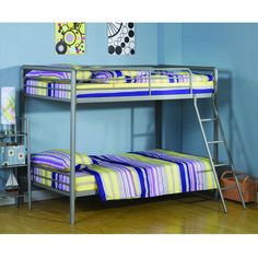 Twin over Twin size Silver Metal Bunk Bed
