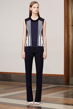 Pringle of Scotland | Resort 2015 | 10 Navy/white/black striped sleeveless top and navy/black color block trousers