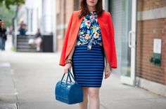 floral blouse + stripe skirt