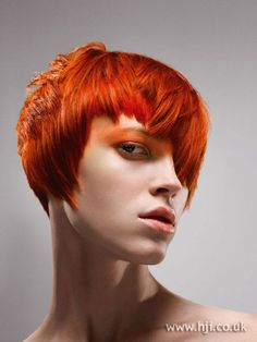 Hair was coloured a bright red all over then cut into short layered and straightened and fingered through for maximum definition       Hairstyle by: Mark Hayes   Hairstyle picture by: Colin Roy   Salon: Vidal Sassoon   Location: London