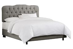 One Kings Lane - An Elegant Retreat - Ava Tufted Bed, Linen Gray sterling bedroom
