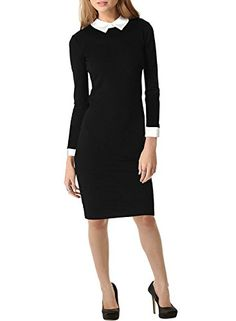 Aiyou Women's Formal Turn Down Collar Long Sleeve Pencil Evening Business Dress