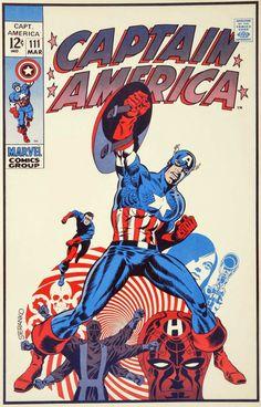 Cap'n's Comics: Captain America Cover by Jim Steranko Cap'n's Comics: Captain America Cover by Jim Steranko Captain America Art, Captain America Comic Books, Marvel Comics Superheroes, Marvel Comic Books, Nick Fury, Vintage Comic Books, Vintage Comics, Indiana Jones, Superman