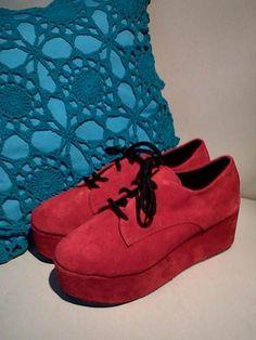 Creepers Rojos Plataforma Nuevos 2012 Zapatos Botas Acordona - $ 370,00