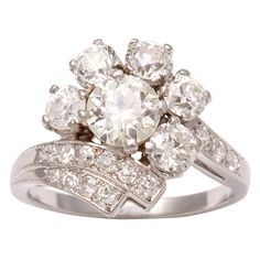 Platinum Diamond Art Deco Ring | From a unique collection of vintage cluster rings at http://www.1stdibs.com/jewelry/rings/cluster-rings/