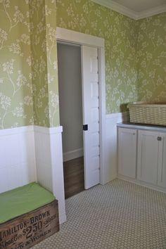 laundry & mud room - wallpaper! beadboard tile! love the hex floor tile, too