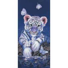 White Tiger Cub Cross Stitch Kit