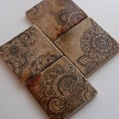 Henna Doodles  drink coaster set by thepaintedlily on Etsy, $32.00