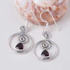 NEW DESIGN GARNET CUT 925 SOLID STERLING SILVER EARRING 4.58 DJER1009 #Handmade #Earring