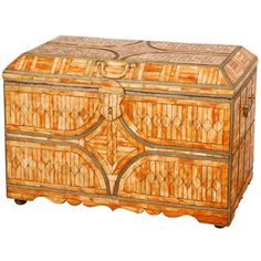 Moroccan Wedding Trunk Coffer Inlaid with Bone and Brass | From a unique collection of antique and modern blanket chests at https://www.1stdibs.com/furniture/storage-case-pieces/blanket-chests/