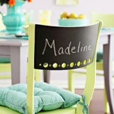 chalk board chair backs....kind of like a Director's chair! Thinking of this for kid's desk chairs...