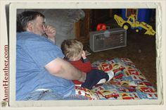 A Pillow of Memories - Kyle snuggling up with his beloved pappy on his pillow. c. 2003 #AuntHeather