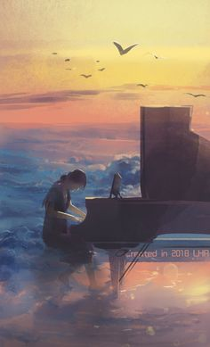 Anime Art Girl, Manga Art, Landscape Illustration, Illustration Art, Piano Art, Anime Scenery, Aesthetic Art, Nature Photos, Fantasy Art