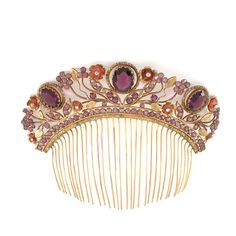 Victorian gilt metal, floral motif hair comb with purple, amber, and clear color stones. So lovely! Bridal Comb, Hair Comb Wedding, Art Nouveau, Victorian Hairstyles, Vintage Hair Combs, Amethyst Color, Floral Hair, Victorian Jewelry, Hair Ornaments