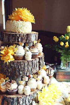 Natural elements for a dessert table-- tree trunk cupcake stand  Bohemian Wedding Style -- Pinspiration by Frosted Events @frostedevents #wedding #boho