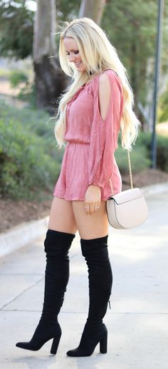 3be6de4d2d95 Beautiful Romper Outfit Idea Thigh High Boots