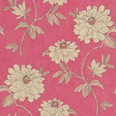 Beatrice Raspberry Red (980711) - Sophie Conran Wallpapers - A pretty elegant gloss floral trail set against a distressed paint washed effect background. Available in 5 colours. Shown in the beige and cream on warm raspberry red. Please ask for a sample for true colour match.