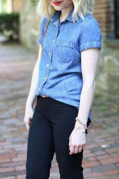 Chambray Shirt and Black Crop Pants - via @poorlilitgirl (Poor Little It Girl)