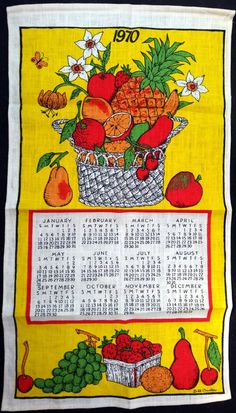 1970 Vintage Calendar Tea Towel - Linen - Pineapple Basket - TWLC132