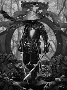A ronin was a samurai with no lord or master during the feudal period of Japan. A samurai became master-less from the death or fall of his master, or. Samurai Tattoo, Ronin Tattoo, Demon Tattoo, Tattoo Art, Shogun Tattoo, Fantasy Warrior, Fantasy Art, Fantasy Women, Character Inspiration