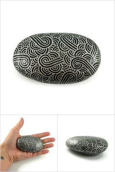 Black decorative painted stone with metallic silver zentangle, abstract painted pebble, modern and unique art object, original gift idea - ooak - Made by @savousepate on Etsy - pinned by pin4etsy.com