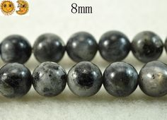 15 inch strand of Black labradorite smooth round beads 8mm