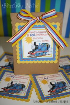 Thomas the Train Favor Tags by BlissfullyNoted on Etsy, $10.00