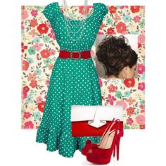 ** Mint Green Polka Dots With Red Pin Up Style @polyvore