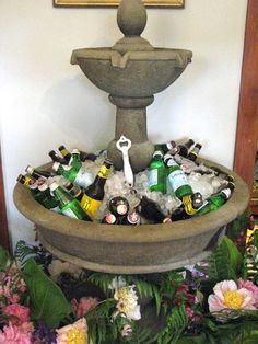 WOW ....~ this would be so neat!  Use a fountain & fill with ice and drinks for outdoor party!