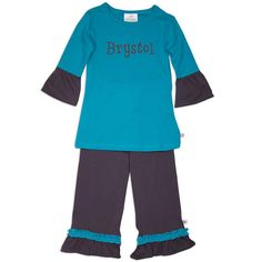 Girls Teal & Charcoal Cotton Pant Set – Lolly Wolly Doodle