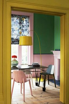 Pink, green, yellow & navy