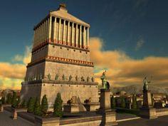 """El Mausoleo de Halicarnaso  Edificada en el año 350 a.C. El Mausoleo de Halicarnaso fue una tumba impresionante, hecha de mármol blanco, la cual llego a medir hasta 50 metros de altura, conto con cerca de 444 estatuas, y 117 columnas que sostenían el techo, para su construcción fueron convocados los mejores arquitectos, escultores y artistas de la época. Esta maravilla fue edificada en honor a Mausolo (de ahí el nombre """"Mausoleo"""") la cual dirigió su esposa Artemisa"""
