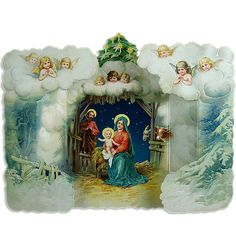 Standing 3-D nativity Christmas card made in England