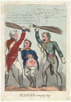[1815.06]:Bodleian Libraries, Floging,a naughty boy.Satire on the Battle of Waterloo.(British political cartoon);Wellington and Blucher beat Napoleon with birch rods.; Publisher's number:361.Ink stamp of flower.Attribution from BMC. Publisher from BMC.