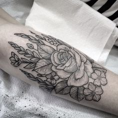 Rose and wheat. Tattoo by Jennifer lawes.   Instagram: @jenniferlawes