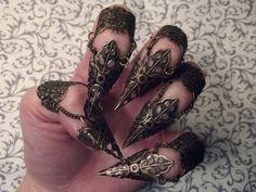 Elven Leaf Claw Armor // Set of 5 // Antiqued Bronze. $35.00, via Etsy.