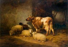 A Cow and Sheep by Thomas Sidney Cooper (1803-1902)
