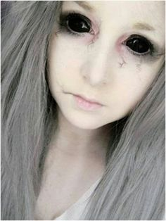 "Sclera contact lenses cover the whole eye and the effect is also known as ""black-out"" effect. Sclera contact lenses are whilst the norm. Halloween Contacts, Halloween Eye Makeup, Halloween Eyes, Maquillage Halloween, Easy Halloween Costumes, Diy Costumes, Diy Halloween, Cosplay Costumes, Alien Makeup"