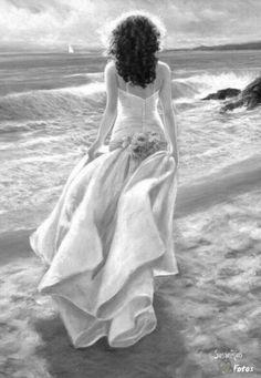 : Foto, Down By The Sea / Pinturas al óleo de Andrei Belichenko. Figure Painting, Painting & Drawing, Artist Painting, Edouard Manet, Beach Art, Beautiful Paintings, Female Art, Art Photography, Art Gallery