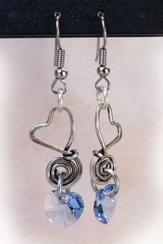 Blue handmade hammered OOAK Crystal and Silver Wire Wrapped Heart Earrings.