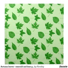 Autumn leaves emerald and lime green cloth napkin is part of Clothes Autumn Green - A pattern of assorted autumn leaves, digitally enhanced and colored deep emerald green leaves on a pale lime green background Green Lace, Green Backgrounds, Shades Of Green, Autumn Leaves, Green Colors, Emerald, Napkins, Lime, Summer Clothes