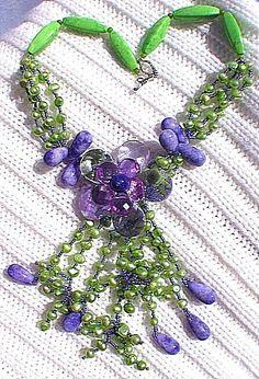 Handwoven Necklace,semi-precious stone,jade,pearls,turquoise quatzs