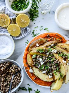 crispy roasted potato wedges with lentils, squash and goat cheese I howsweeteats.com